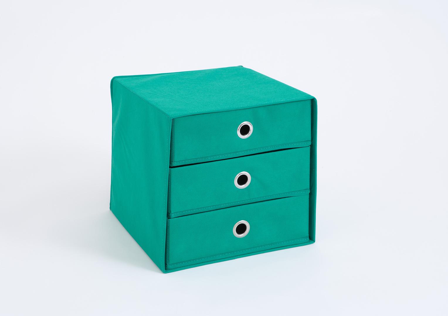 Panier de rangement 3 tiroirs en tissu vert Gama