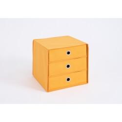 Panier de rangement 3 tiroirs en tissu orange Gama