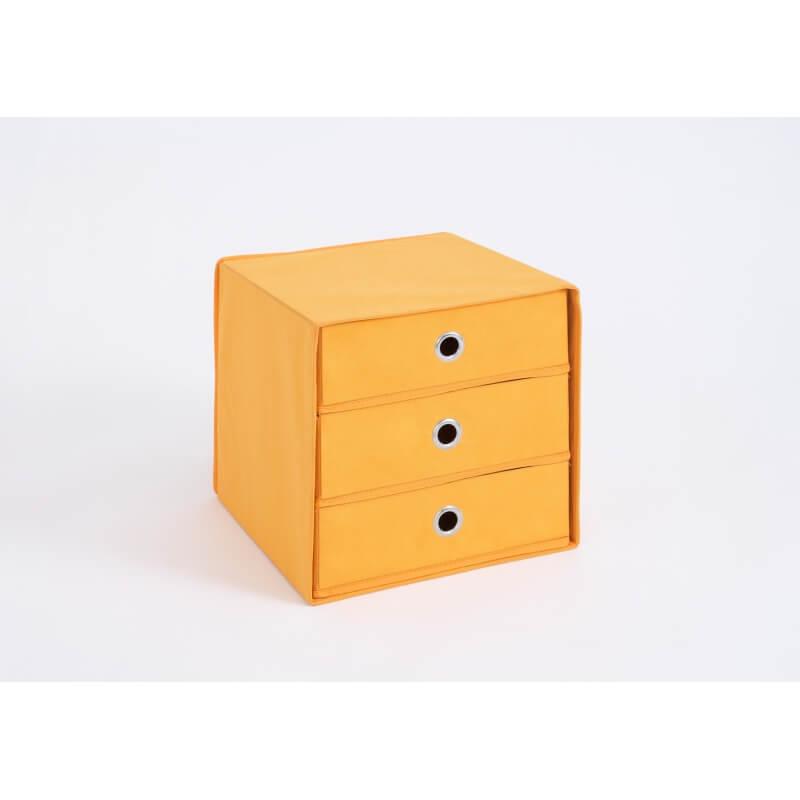 panier de rangement 3 tiroirs en tissu orange gama matelpro. Black Bedroom Furniture Sets. Home Design Ideas