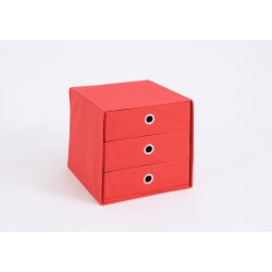 Panier de rangement 3 tiroirs en tissu rouge Gama