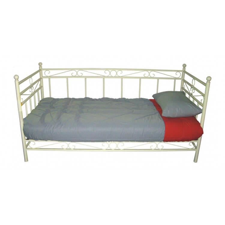 lit banquette contemporain en m tal blanc eddy. Black Bedroom Furniture Sets. Home Design Ideas