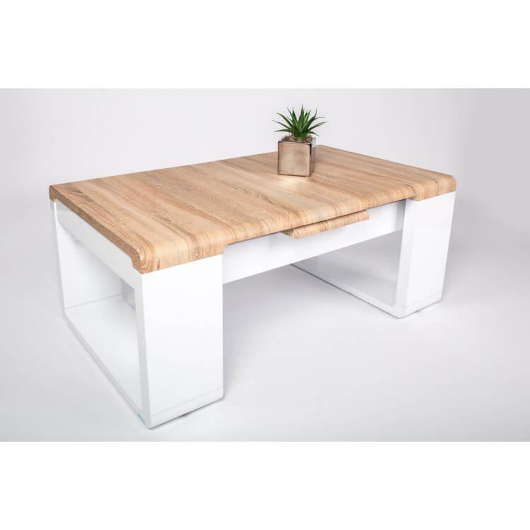 Table basse design en bois chêne sonoma/laqué blanc brillant Magalie
