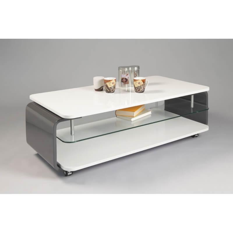 table basse design verre et bois laqu blanc gris lorena. Black Bedroom Furniture Sets. Home Design Ideas