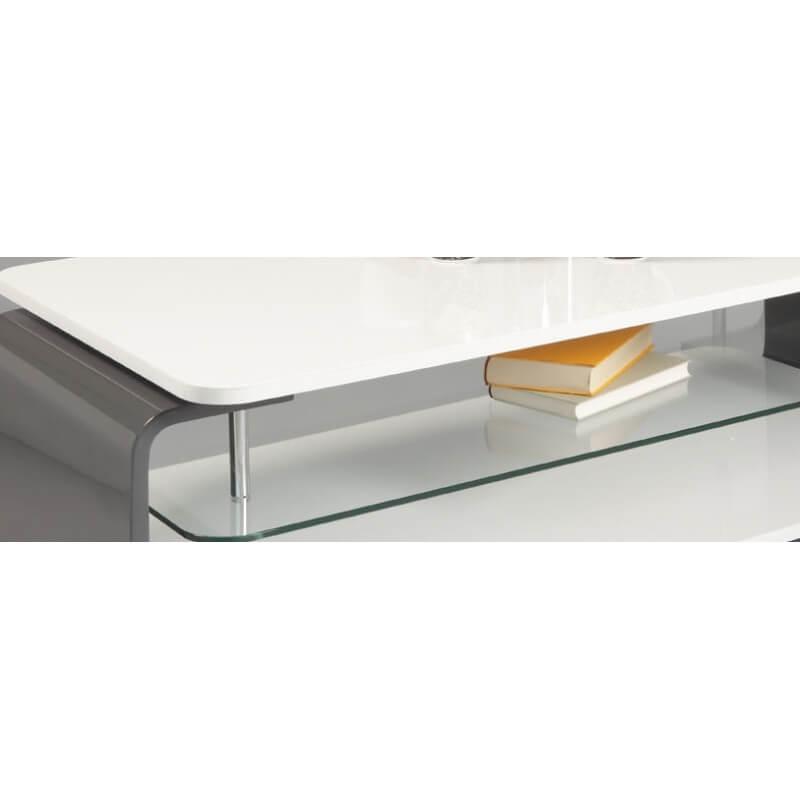 Table basse design verre et bois laqu blanc gris lorena - Table basse blanc laque et bois ...