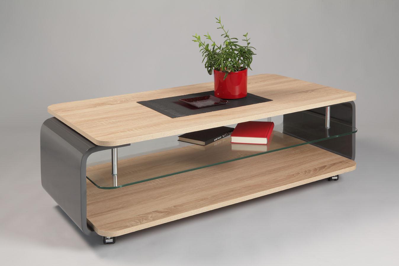Table En Bois Chene Clair table basse design verre et bois chêne clair/gris brillant lorena