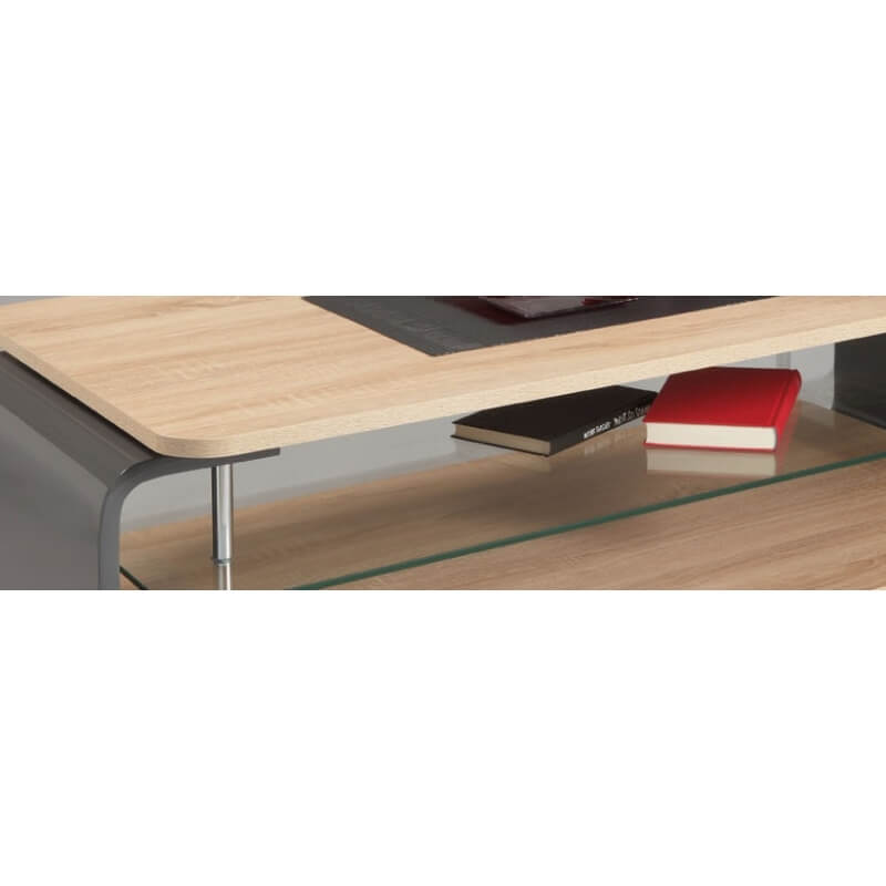 table basse design verre et bois ch ne clair gris brillant. Black Bedroom Furniture Sets. Home Design Ideas