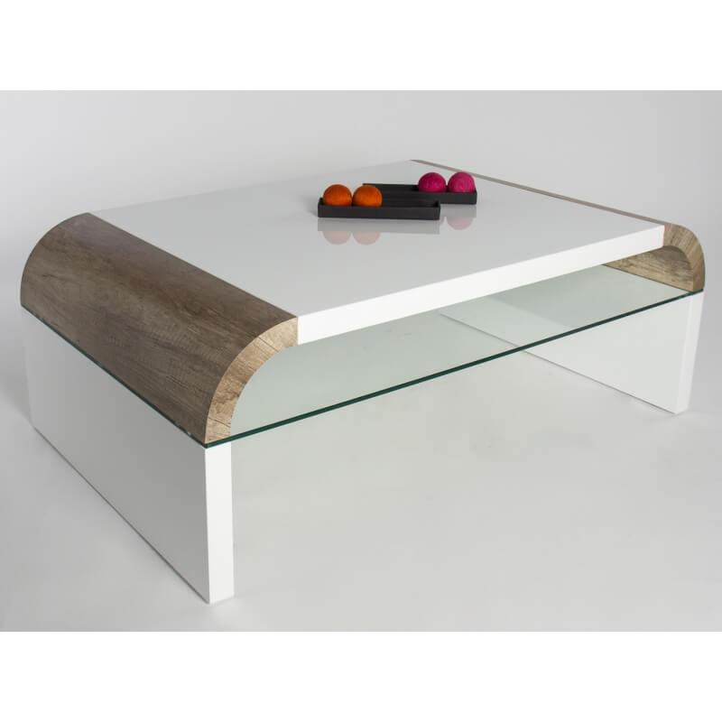 table basse design verre et bois ch ne fonc sonoma laqu. Black Bedroom Furniture Sets. Home Design Ideas