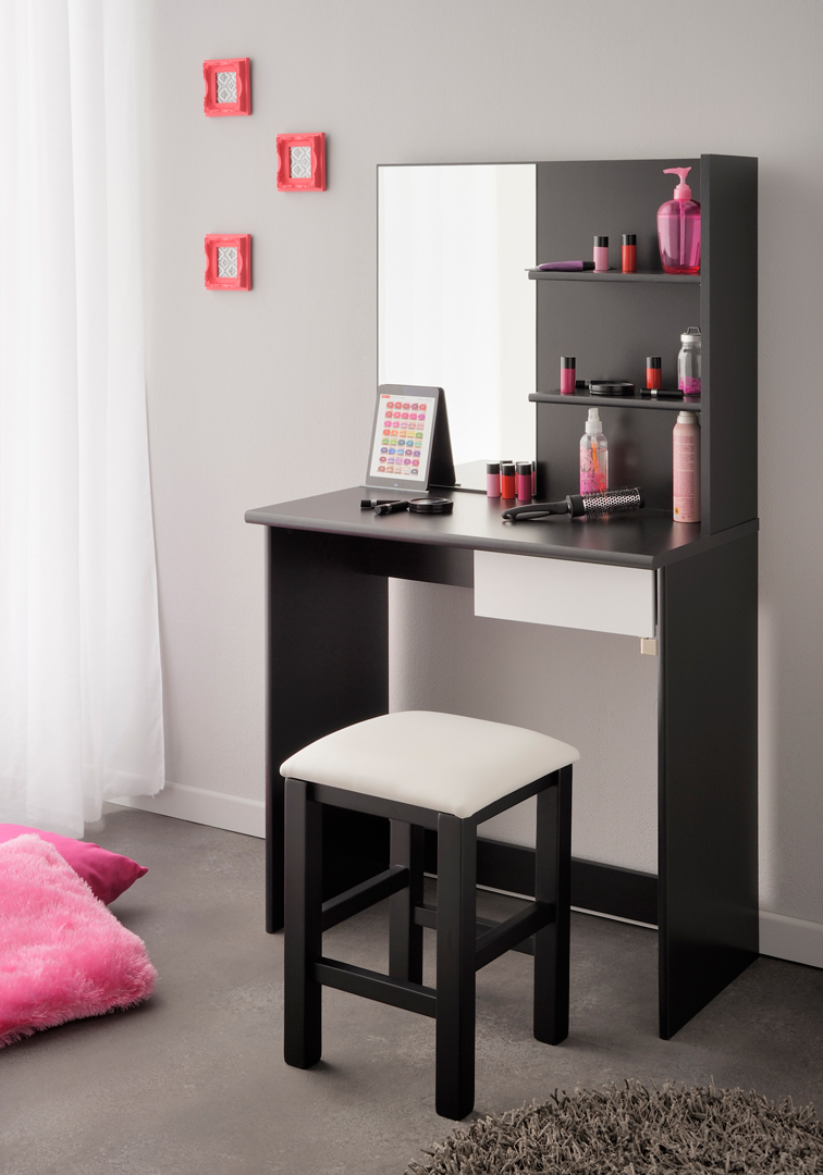 coiffeuse contemporaine blanche et noire cerval matelpro. Black Bedroom Furniture Sets. Home Design Ideas