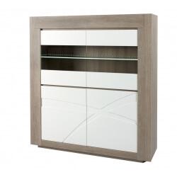 Vaisselier/argentier contemporain avec éclairage chêne gris/blanc laqué Jenawel