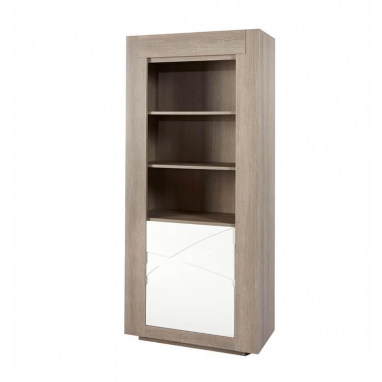 Bibliothèque contemporaine chêne gris/blanc laqué Jenawel