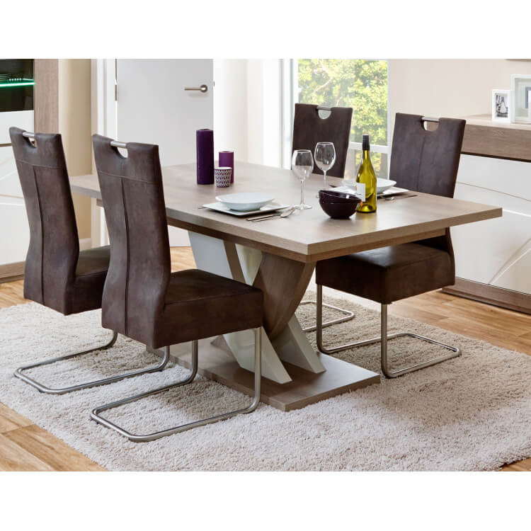 Table De Salle A Manger Contemporaine Extensible Chene Gris Blanc Laque Jenawel