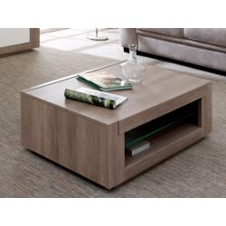 Table basse contemporaine rectangulaire chêne gris Jenawel