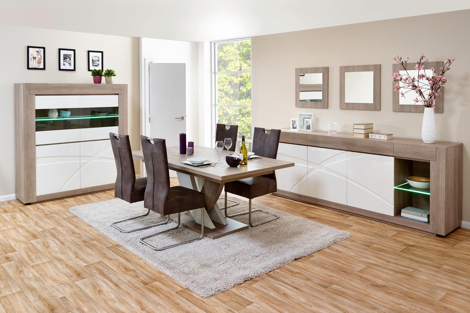 Salle à manger contemporaine chêne gris/blanc laqué Jenawel II
