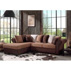 Canapé d'angle fixe contemporain en tissu brun Sally