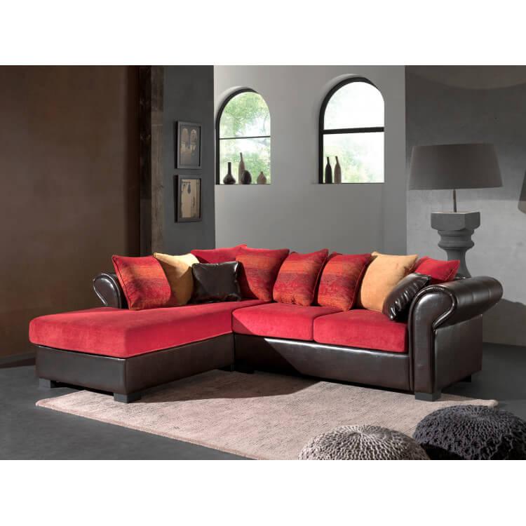 Canapé d'angle fixe contemporain en tissu rouge/PU brun Sally