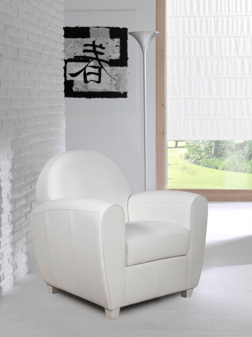 Fauteuil club contemporain en PU blanc Maritza