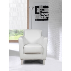 Fauteuil design en PU blanc Ashley