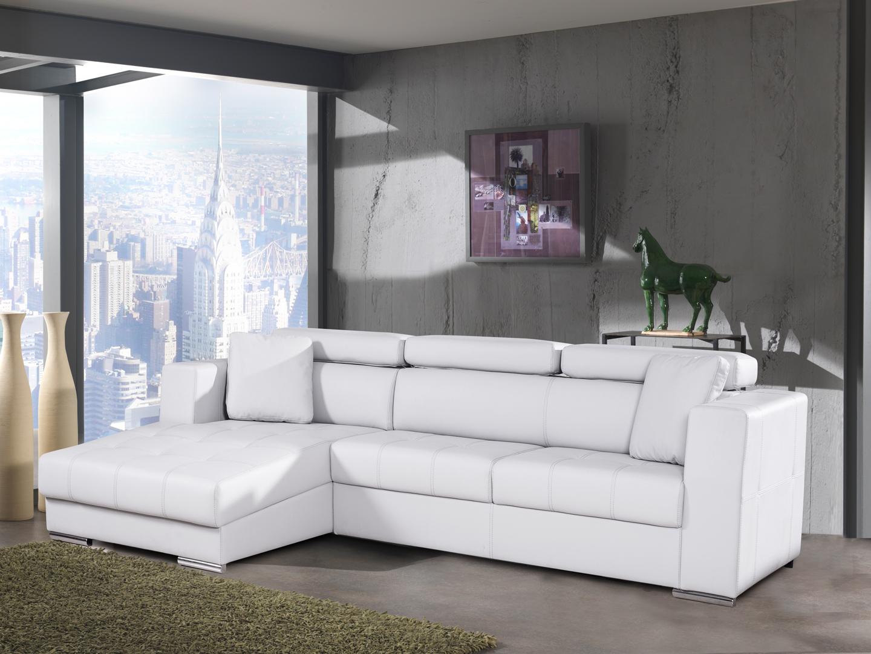 Canapé d'angle fixe contemporain en PU blanc Connor