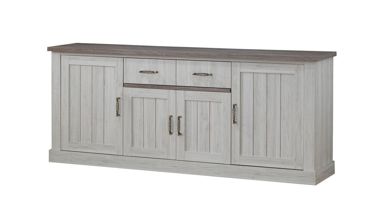 Buffet/bahut contemporain 4 portes/2 tiroirs chêne clair/brun Milena