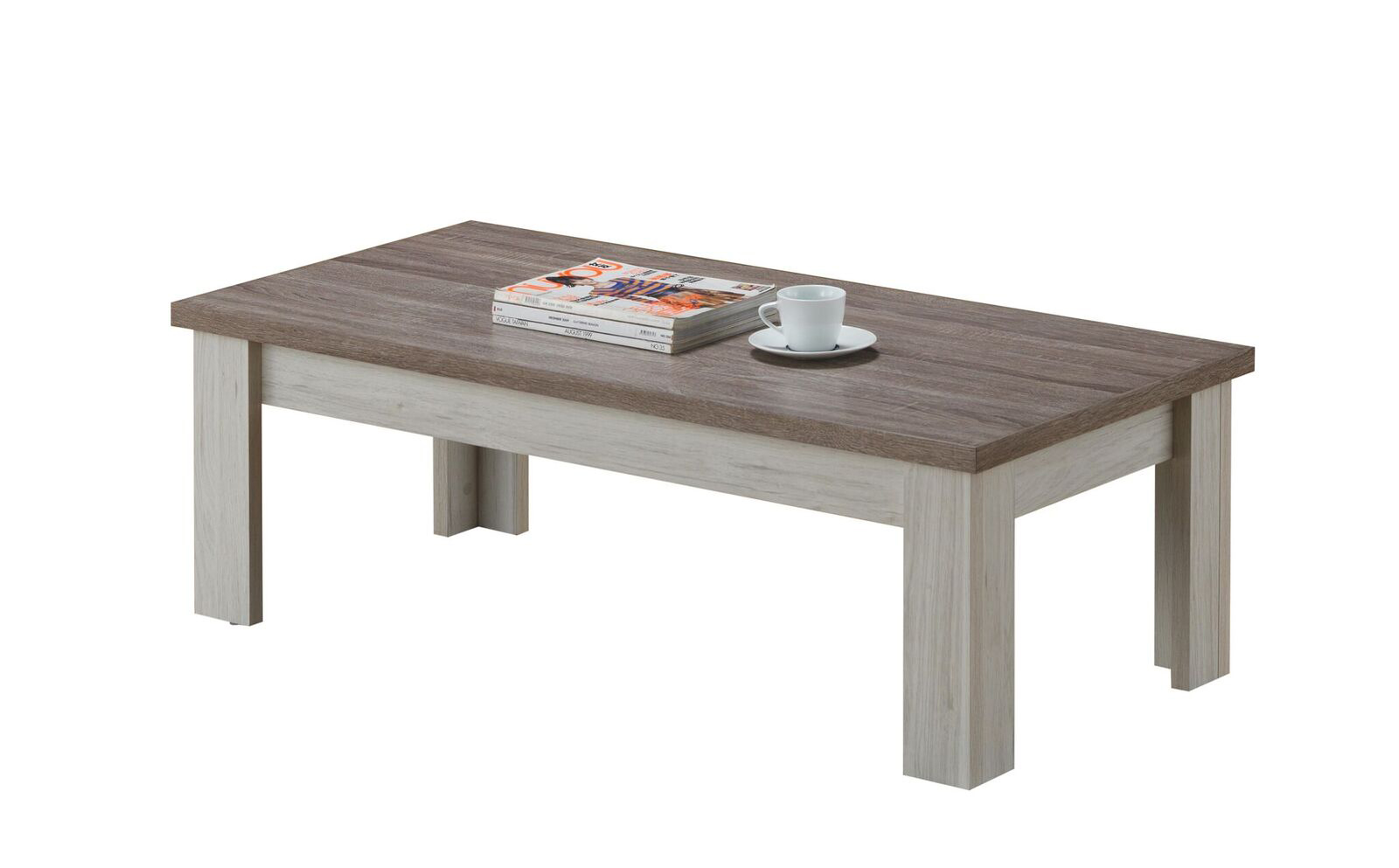Table basse contemporaine rectangulaire chêne clair/brun Milena