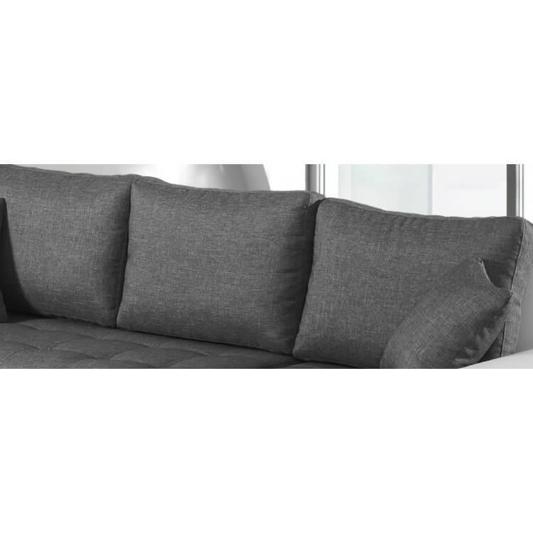 Canapé d'angle convertible contemporain en tissu anthracite/PU blanc Azalé