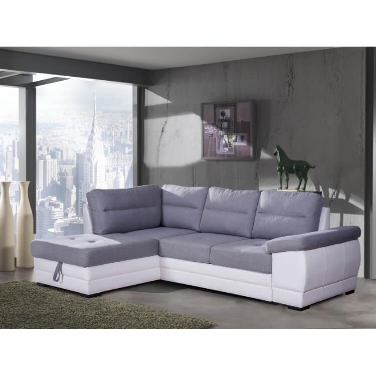 Canapé d'angle convertible contemporain en tissu gris/PU blanc Janaya