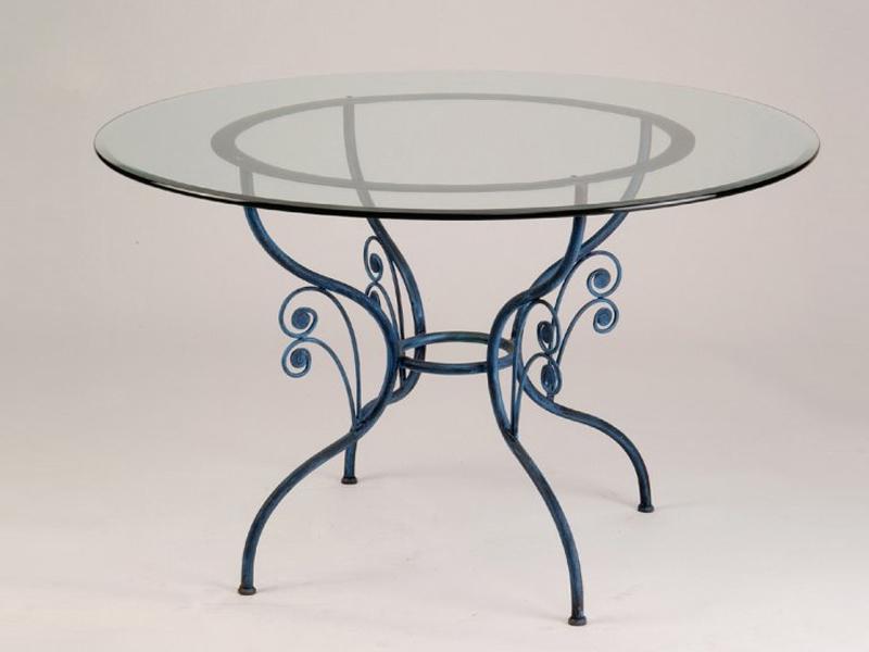 Table verre & fer forgé ronde de salle à manger GRAZIELLA
