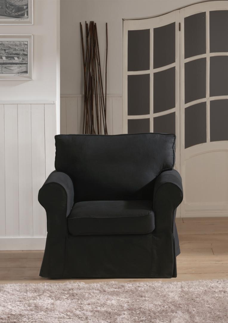 Fauteuil fixe contemporain en tissu noir Loucia