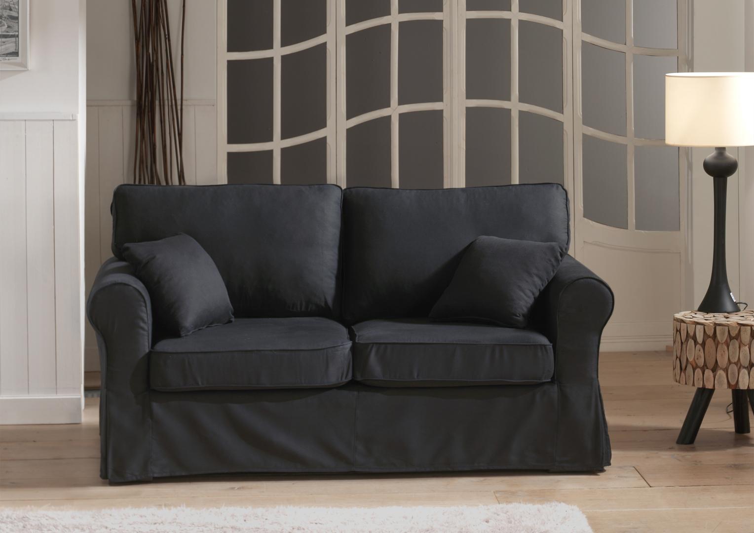 Canapé fixe 2 places contemporain en tissu noir Loucia