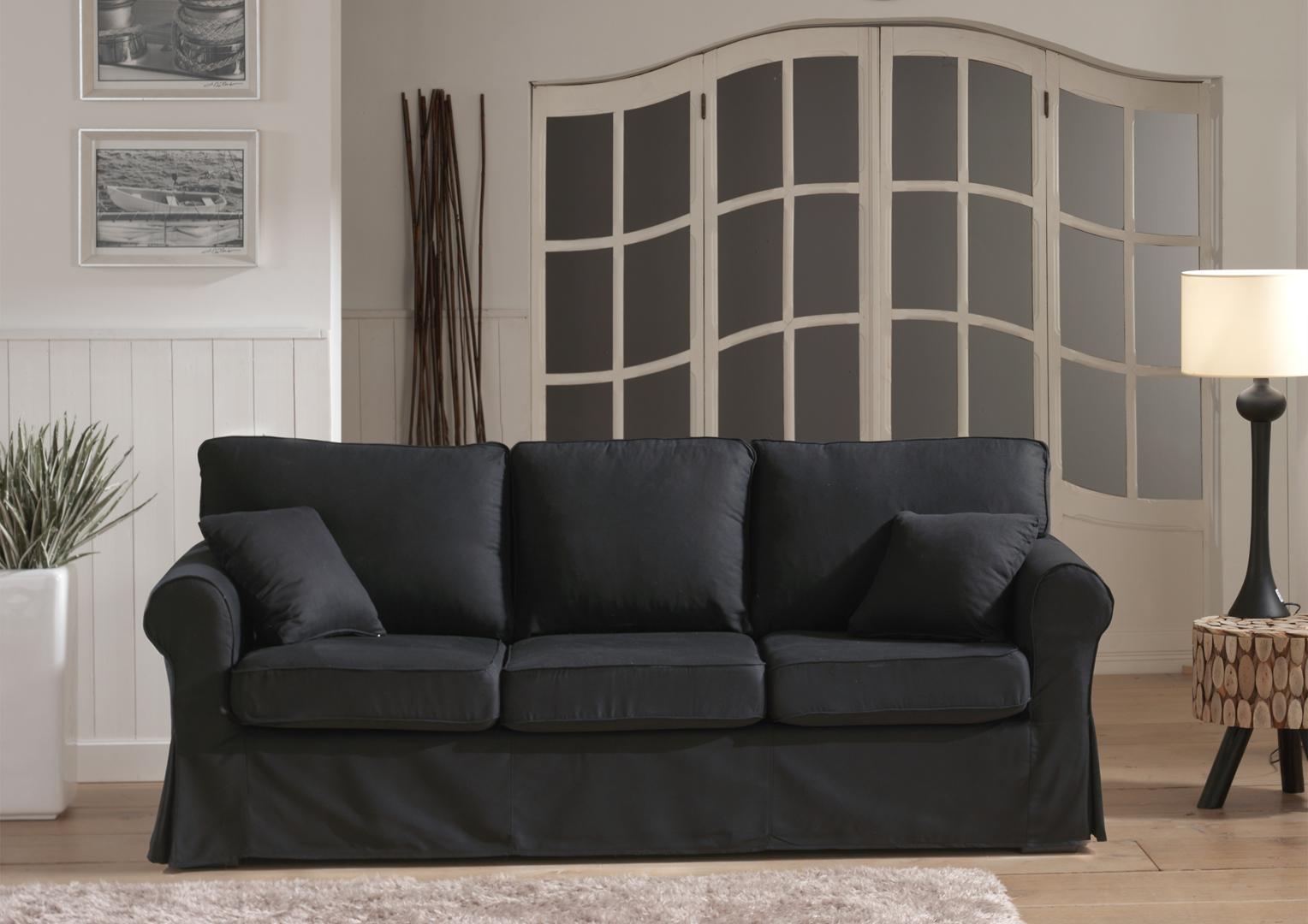 Canapé fixe 3 places contemporain en tissu noir Loucia