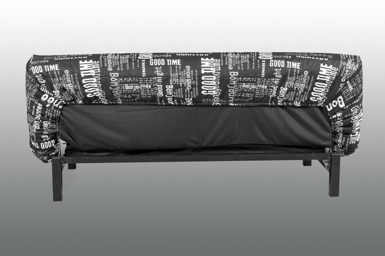 clic clac en tissu noir imprim blanc courtney matelpro. Black Bedroom Furniture Sets. Home Design Ideas