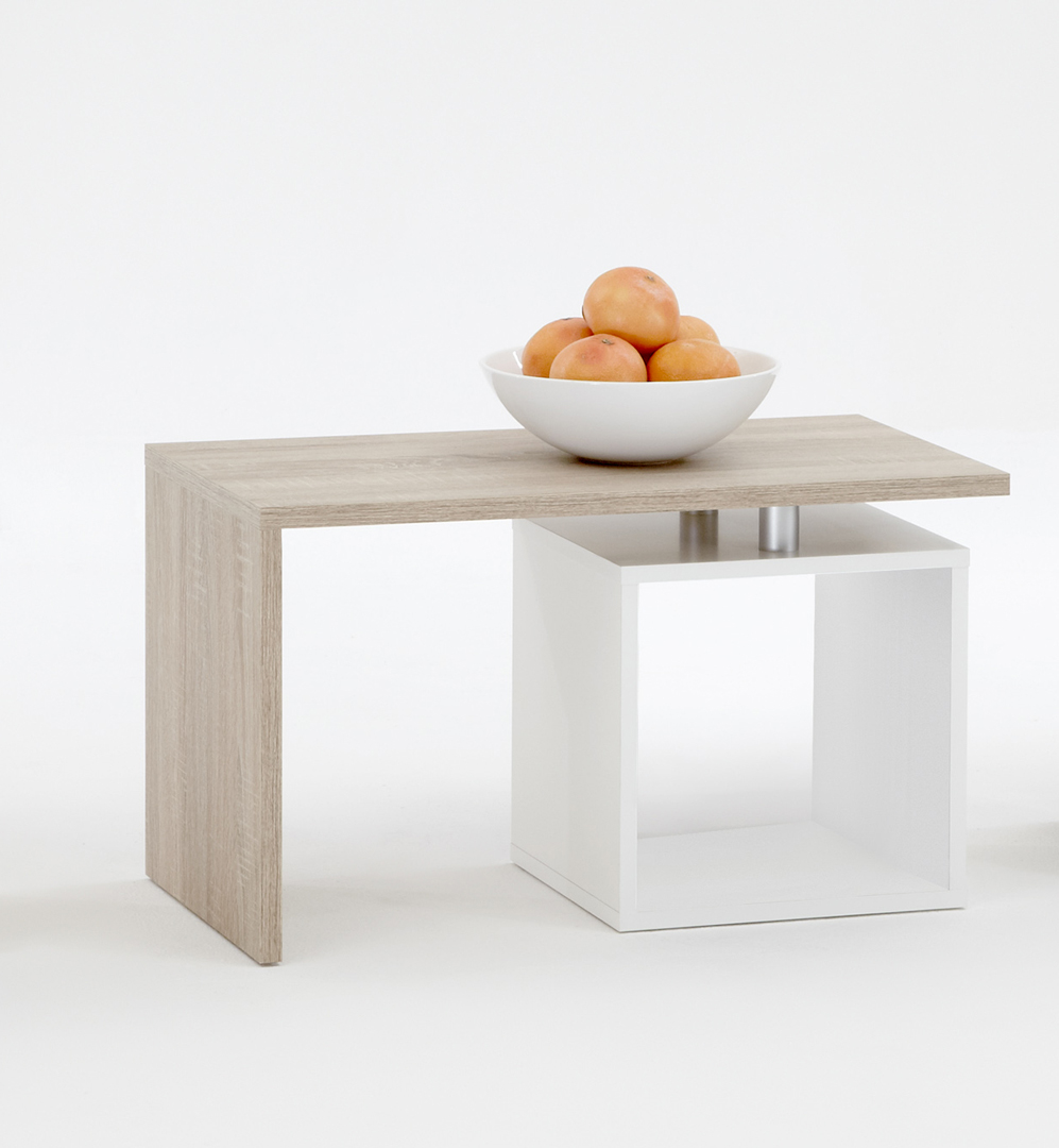 Table basse contemporaine chêne/blanc Shane