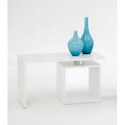Table basse contemporaine blanche Shane