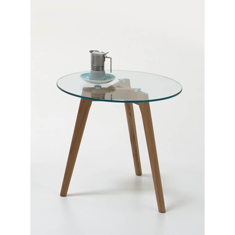 Table basse contemporaine verre et bois coloris chêne Adaline II