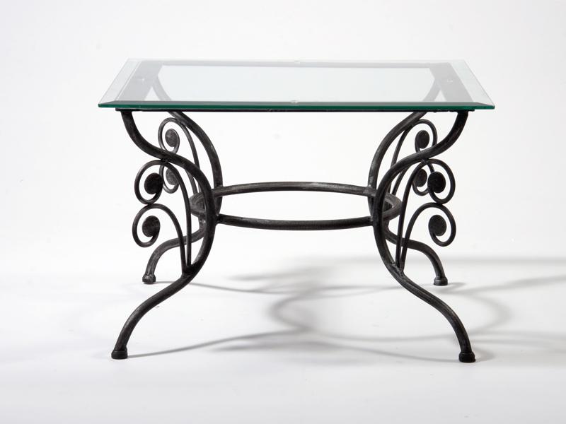Table basse verre & fer forgé carrée GRAZIELLA