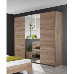 Armoire contemporaine 2 portes coulissantes coloris chêne Jasmine