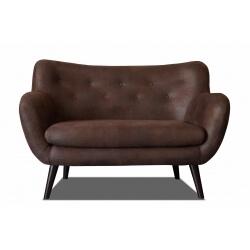 Canapé fixe 2 places design en tissu tobago brun Axelle