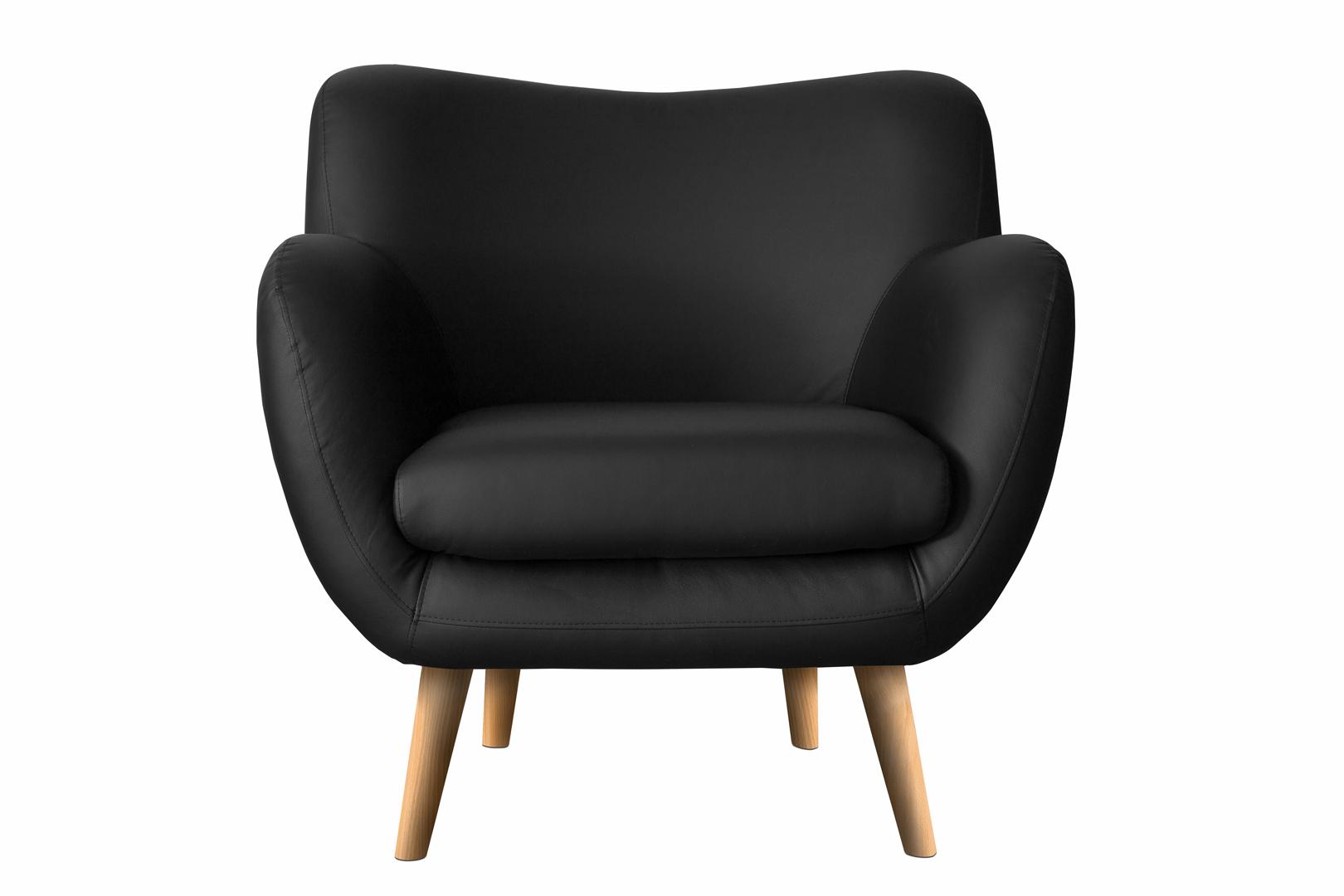 Fauteuil fixe design en PU noir Axelle