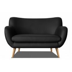 Canapé fixe design 2 places en PU noir Axelle