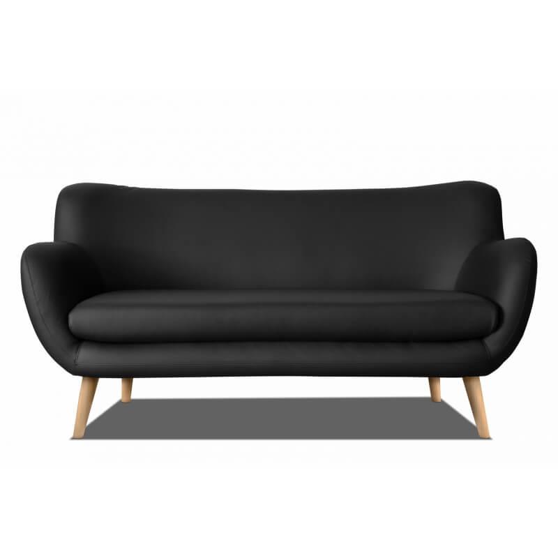 canap fixe design 3 places en pu noir axelle matelpro. Black Bedroom Furniture Sets. Home Design Ideas