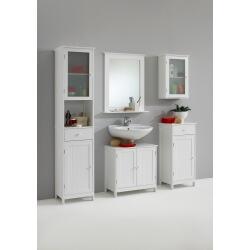 Ensemble de salle de bain contemporain blanc Fidusine