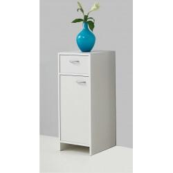Meuble bas de salle de bain contemporain 1 porte/1 tiroir blanc Amarylis