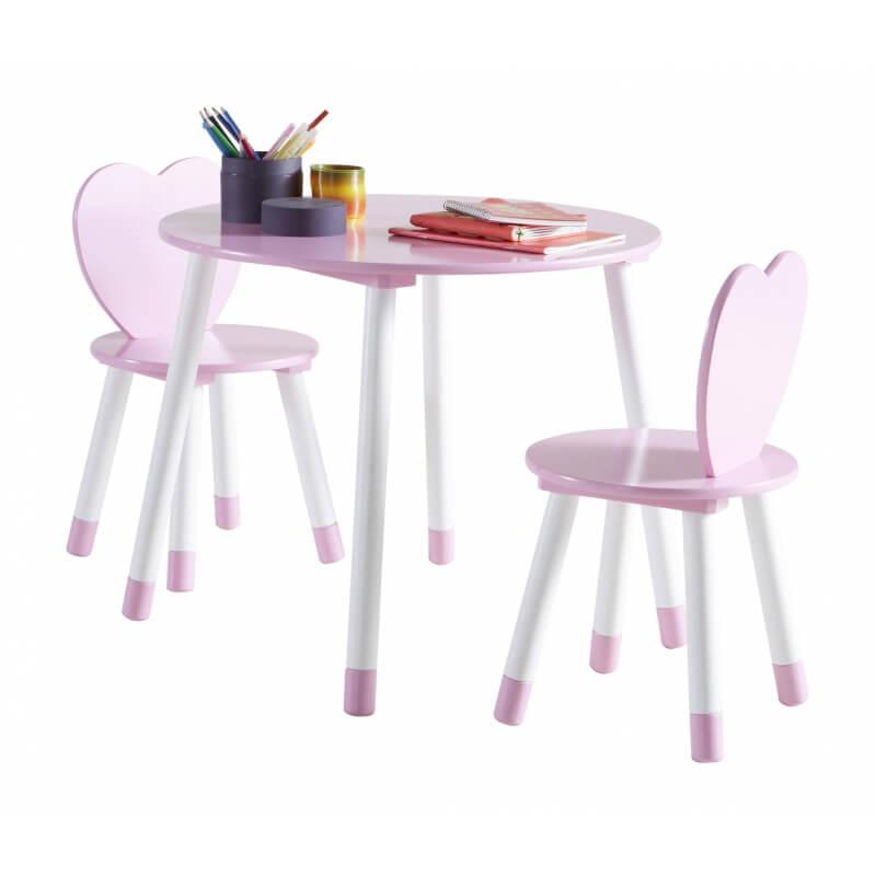 Ensemble table et chaises enfant contemporain blanc rose aurore for Ensemble table et chaise blanc