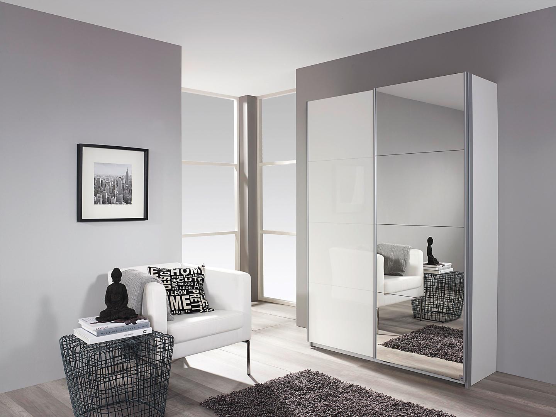 Armoire à chaussures design laquée blanche portes coulissantes Minos II