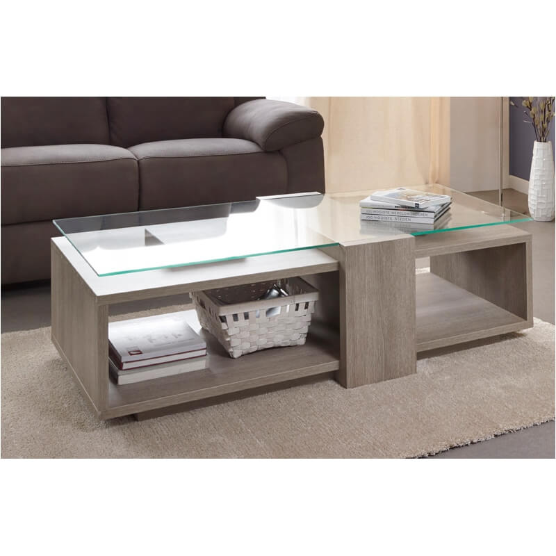 table basse contemporaine ch ne gris andoline. Black Bedroom Furniture Sets. Home Design Ideas