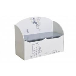 Coffre à jouets contemporain blanc/gris Papyrus