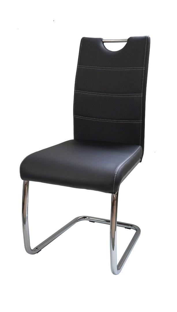 Chaise de salle à manger design métal et PU noir Raffie