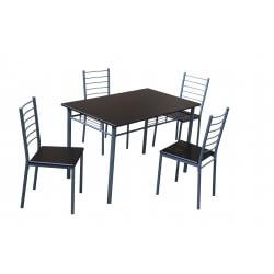 Ensemble table et chaises contemporain wengé/gris  Elsa