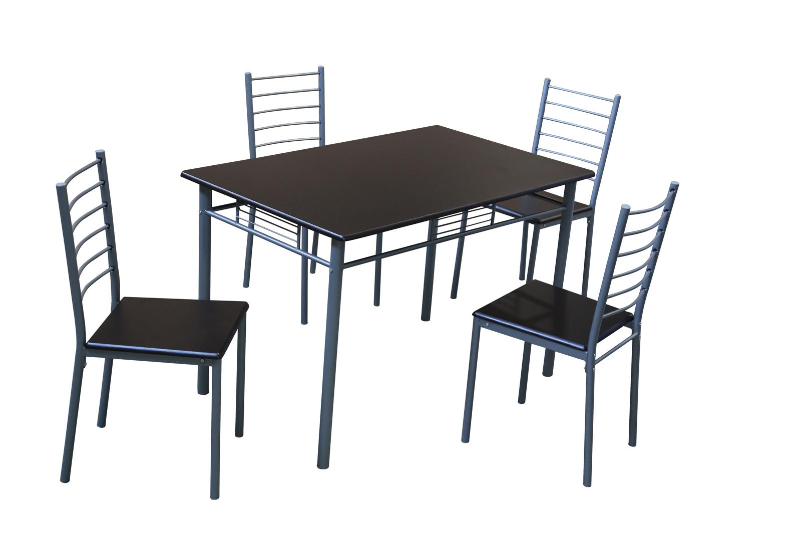 Ensemble table et 4 chaises contemporain métal et bois coloris wengé Elsa