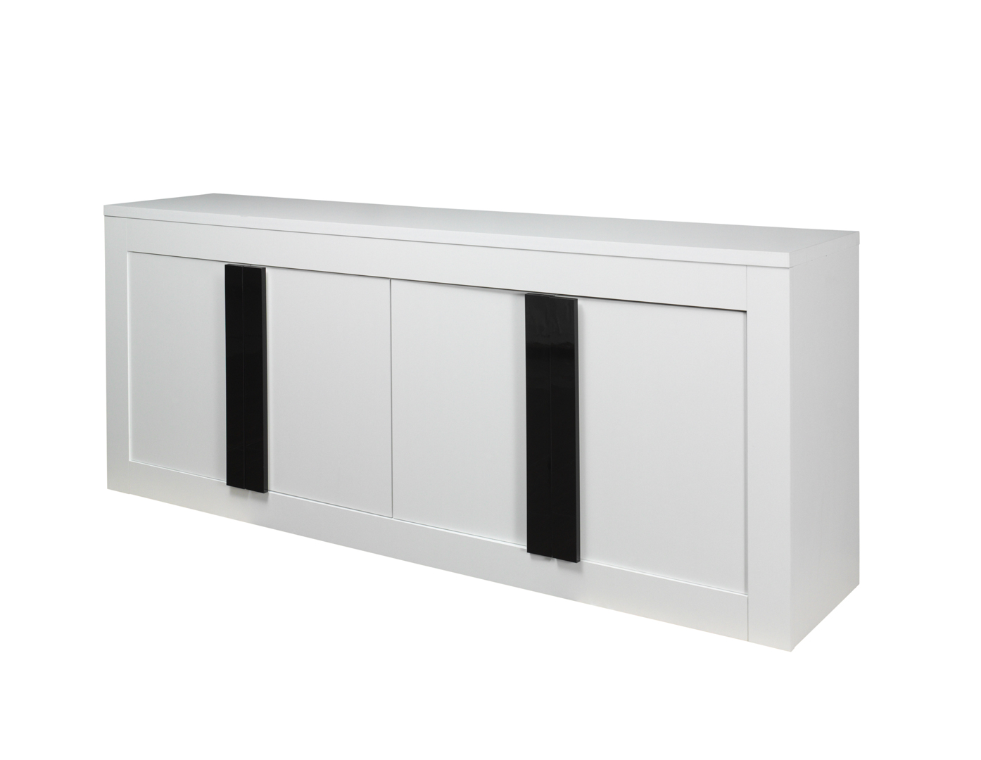 buffet bahut design 4 portes blanc mat noir brillant evane. Black Bedroom Furniture Sets. Home Design Ideas